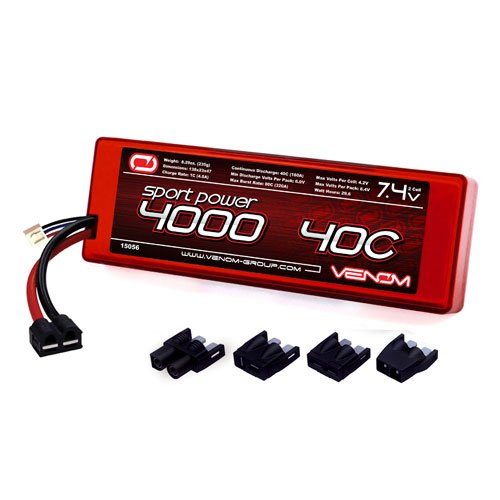 Venom Group International 15056 2S 7.4V 40C 4000mAh LiPo, Universal Plug