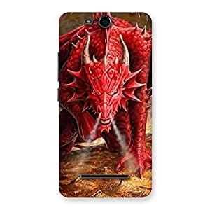 Cute Red Fantastic Dragon Back Case Cover for Micromax Canvas Juice 3 Q392