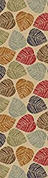 Rubber Collection Leaves Multi-Color Printed Slip Resistant Rubber Back Latex Contemporary Modern Area Rugs and Runners (1161/1162) (Multi Leaves, 23\