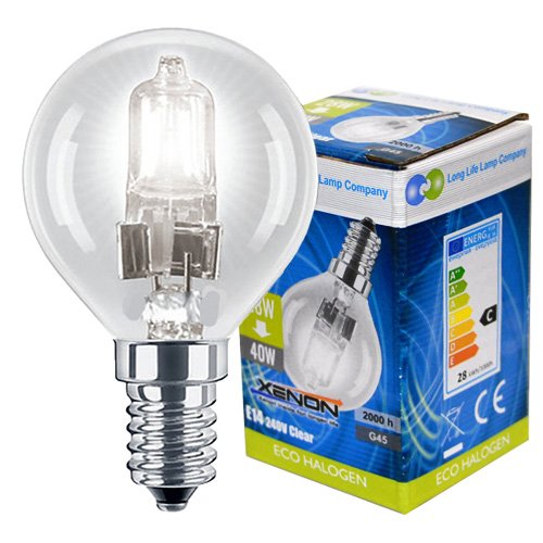 4 x Eco Halogen Energy Saving Mini Golf Balls Globes 28W = 40w SES E14 Small Edison Screw Classic Clear Round, Dimmable Light Bulbs Lamps, G45, Mains 240V