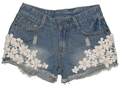 Big Girls's Teen Girls Summer Flowers Beads Cut-off Ripped Demin Jean Shorts(S)