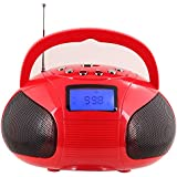 August SE20 - Mini Bluetooth MP3 Stereo System - Portable Radio with Powerful Bluetooth Speaker- FM Alarm Clock Radio with Card reader, USB and AUX in (Micro USB) - 2 x 3W Stereo Hi-Fi Speakers and Rechargeable Battery (Black) (Black) (Red)