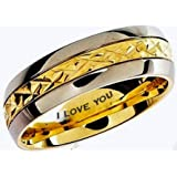 Mens Titanium Ring-7mm Wide Engraved I Love You Classic Unisex Two Tone Wedding Engagement Comfort Fit Jewellery Band Ring