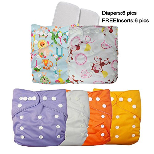 (LOVE MY) Baby Washable Reusable Adjustable Girls/Boys One Size Cloth Diapers, 6 pcs + 6 Inserts