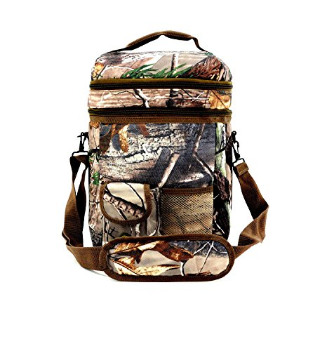 Realtree Ap Licensed 12 Can Forest Camo Insulated Lunch Bag Cooler Dual Compartment, Leak Proof, Water & Weather Resistant - 1