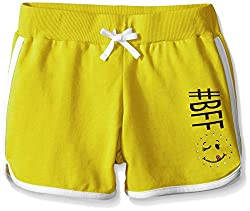 Dream Star Big Girls French Terry Dolphin Short with Screen and Contrast Piping, Sun/White, Small/7/8