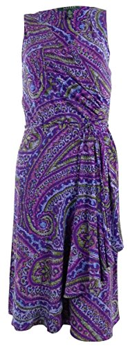 Lauren Ralph Lauren Women'S Surplice Belted Jersey Dress (Xs, Purple Multi)