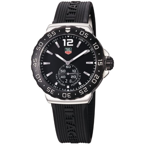 Tag huer watches tag heuer men 39 s wau1110 ft6024 formula 1 black dial black rubber strap watch for Tag heuer discount