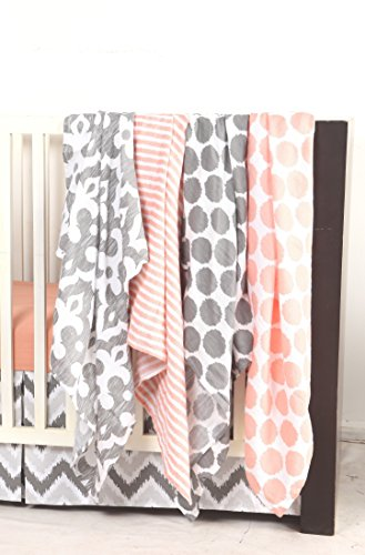 Bacati Ikat Coral/grey Dots/stripes Swaddling Muslin Blankets Set of 4