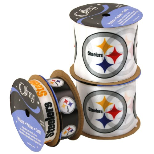 Offray NW7209AZ Pittsburgh Steelers Printed Craft Ribbon Pack, 12-Yard