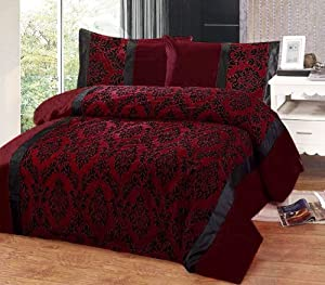 Burgundy Red Amp Black Flock Design In Faux Silk Super