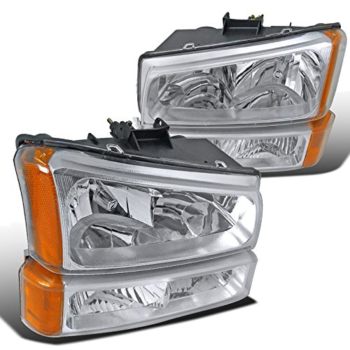 Spec-D Tuning 2LBLH-SIV03-RS Silverado Chrome Crystal Headlights+Clear Signal Bumper Light (90 Chevy Silverado Headlights compare prices)