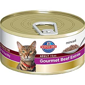 Hill's Science Diet Adult Optimal Care Gourmet Beef Entree Minced Cat Food, 3-Ounce Can, 24-Pack