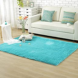 Sytian® Decorative 80*120cm Ultra Solft Morden Shaggy Area Rug Non-slip Bedroom Living Room Carpet Sitting-room Rug Kids Playing Mat Crawling Pad - 4.5cm Thick (Blue)
