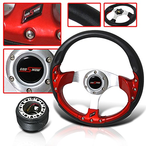 Toyota Corolla 320mm Steering Wheel Red with Hub Adapter and Horn Button. Will Improve Handling performance (Steering Wheel For Toyota Corolla compare prices)
