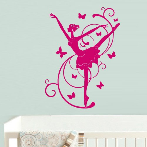 Wall Decal Vinyl Sticker Decor Art Bedroom Design Mural Nursery Kids Baby Ballet Ballerina Dancer Butterfly (Z730) front-1042991