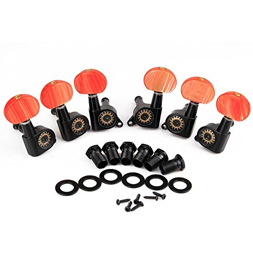 Set of 3R3L Tuning Pegs keys Machine Head Tuners w/ Coral Buttons for 6 string Electric Guitar (Electric Guitar Tuner Knobs compare prices)