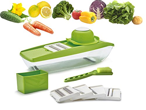 Multifunctional Mandoline Slicer GoFriend Vegetable Cutter, Chopper, Dicer with 5 Interchangeable Stainless Steel Blades & Food Storage Container with Free Vegetable Slicer (5-IN-1) (Cross Chopper compare prices)