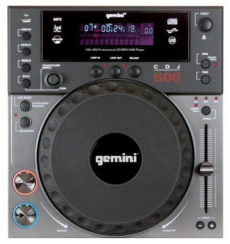 Gemini CDJ-600 Professional Tabletop Player With Scratch (CB/MP3/USB)