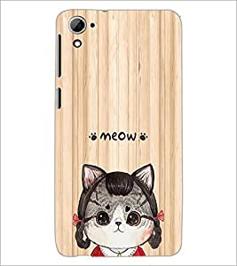 PrintDhaba Meow D-3379 Back Case Cover for HTC DESIRE 826 (Multi-Coloured)