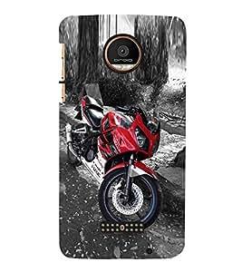 Marvellous Red Bike Cute Fashion 3D Hard Polycarbonate Designer Back Case Cover for Motorola Moto Z Force :: Motorola Moto Z Force Droid for USA