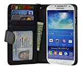 Navor Samsung Galaxy S4 Folio Wallet Leather Case for Cards & Money Pockets, ID Window (Black) - Best Reviews Guide