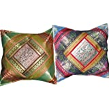 2 Ethnic Vintage Silk Sari Shabby Chic Cushion Coversby Mogulinterior