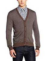 Hackett London Chaqueta Punto Lana May Varsity Cardi (Marrón)