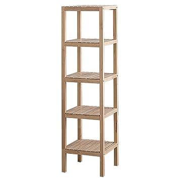 Haushaltsgegenstände Shelf Home Einfache moderne Wohnzimmer / Schlafzimmer Boden Bucherregal Massivholz Lagerung Rack Blume Racks -CRS-ZBBZ ( Farbe : Holz Farbe , größe : 5 tiers )