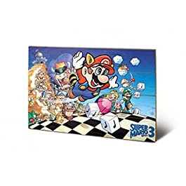 Super Mario - Bros. 3, Princess Peach, Luigi Cuadro De Madera (60 x 40cm)