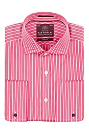 Pure Cotton Slim Fit Wide Geranium Striped Shirt [T11-4351S-S]