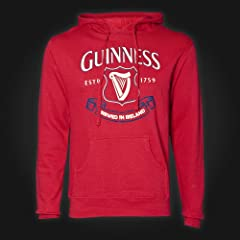 Guinness Hoodie Mens - Red - Harp Trademark