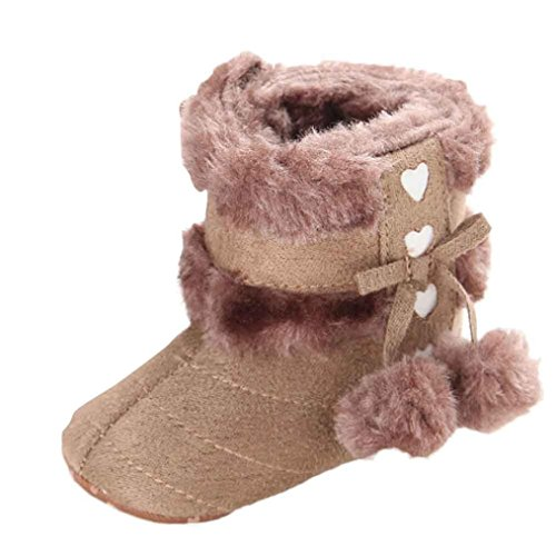 Voberry Baby Toddler Girls Knit Soft Winter Warm Snow Boot Fur Trimmed Pom Pom Boots (0~6 Month, Khaki 2)