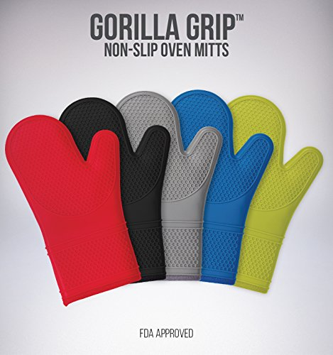 (Set of 2) The Original GORILLA GRIP Non-Slip Silicone Oven Mitt, Gray-Set of Oven Mitts (Small Oven Mits compare prices)