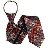 Zipper Pattern Necktie - Red Aqua Brown