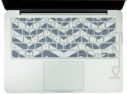 Kuzy - Gray Chevron Zig-Zag Keyboard Cover for MacBook Pro 13