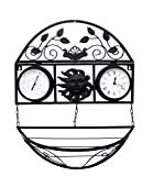 HORLOGE MURALE SOLEIL FER FORGÉ AVEC UN STATION MÉTÉO ET POT DE FLEUR POUR INTÉRIEUR ET EXTÉRIEUR - Tinas Collection...