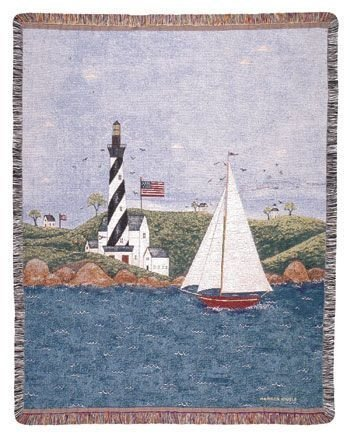 "Coastal Breeze Nautical Theme Folk Art Tapestry Throw Afghan 50"" X 60"" front-871995"