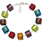 Valentina Genuine Murano Glass Bright Multi Cube Bracelet of 20.5cm