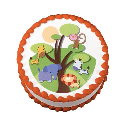 Cake decorations little safari jungle animals edible for Animal cake decoration