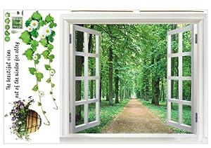 SODIAL (R) Riesige Fenster 3D-Blick ins Gruene Blumen ...