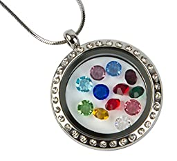 Floating Glass Charm Locket Necklace Studded with CZ. Round Pendant with Snake Chain and Lobster Clasp. Floating Charms Allow You to Customize and Create the Perfect Personalized Gift for Girlfriends, Mothers, Wife, Valentines Day, Birthdays, Weddings or