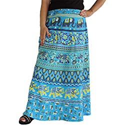 Aura Life Style Women Printed Cotton Long Wrap Around Skirt (ALSK5032W, Blue, Free Size)