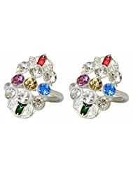 DollsofIndia White And Multicolor Stone Studded Toe Ring - Stone And Metal - White - B015RGQV5O