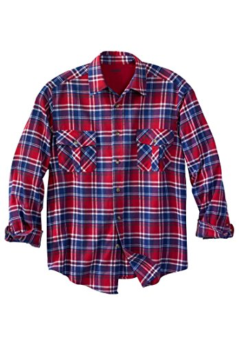 Kingsize Men's Big & Tall Plaid Double-Brushed Flannel Shirt