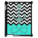 Live the Life You Love, Love the Life You Live. Turquoise Black and White Chevron with Anchor APPLE IPAD 2 3 4 PVC Case/Cover New Fashion, Best Gift