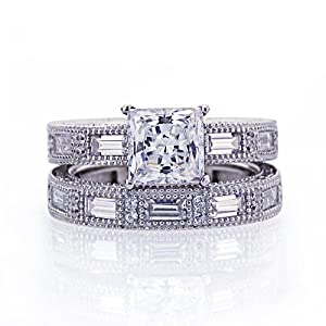 Sterling Silver Princess Cut 2 Carat Cubic Zirconia Vintage Engagement Ring Sets ( Size 5 to 9) Size 5 from Double Accent