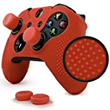 ParticleGrip STUDDED Skin Set for Xbox One by Foamy Lizard ® PATENT PENDING Silicone Skin Cover Antislip Studs PLUS a matching set of 4 AceShot Analog Thumb Grips RED