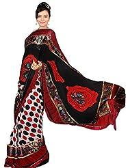Vamika Chiffon Saree (Red & Black)