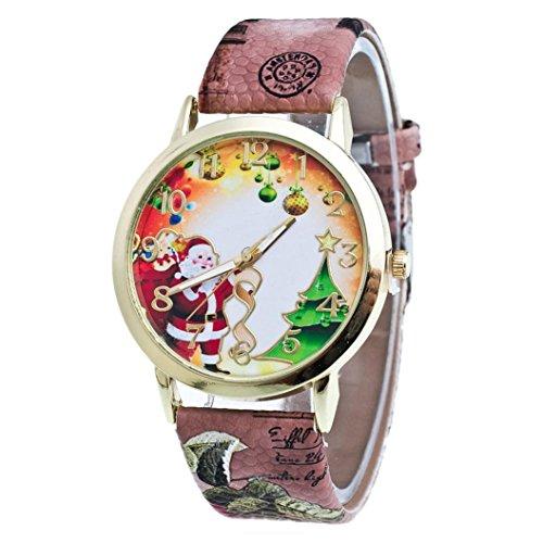 Natale Anziani E Albero modello Leather analogica della fascia di quarzo di moda Orologi,Fami